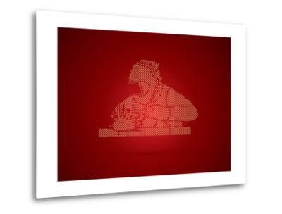 Welder Working Welding Designed Using Dots Pixels Graphic Vector-Arak Rattanawijittakorn-Metal Print