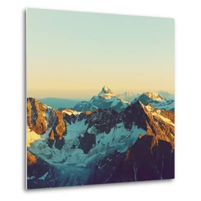 Scenic Alpine Landscape with and Mountain Ranges. Natural Mountain Background. Vintage Stylization-Evgeny Bakharev-Metal Print