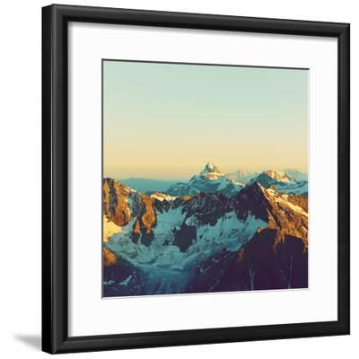 Scenic Alpine Landscape with and Mountain Ranges. Natural Mountain Background. Vintage Stylization-Evgeny Bakharev-Framed Photographic Print