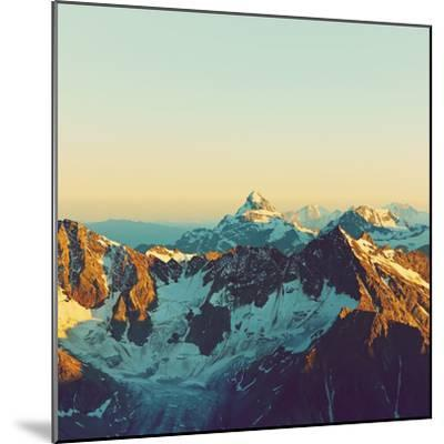 Scenic Alpine Landscape with and Mountain Ranges. Natural Mountain Background. Vintage Stylization-Evgeny Bakharev-Mounted Photographic Print