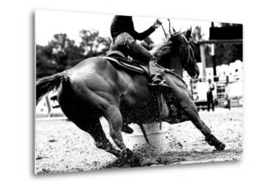 High Contrast, Black and White Closeup of a Rodeo Barrel Racer Making a Turn at One of the Barrels-Lincoln Rogers-Metal Print