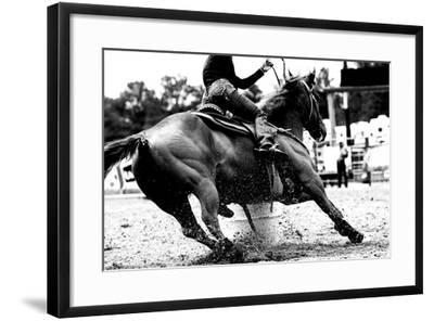 High Contrast, Black and White Closeup of a Rodeo Barrel Racer Making a Turn at One of the Barrels-Lincoln Rogers-Framed Photographic Print