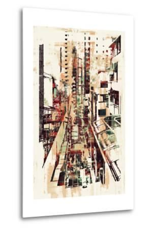 Abstract Art of Cityscape,Illustration Painting-Tithi Luadthong-Metal Print