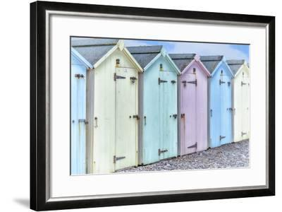Pastel Colored Beach Cabins-Cora Niele-Framed Photographic Print