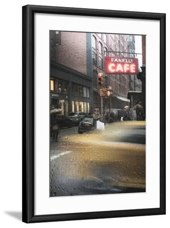 Cafe And Cab Rain-Moises Levy-Framed Photographic Print