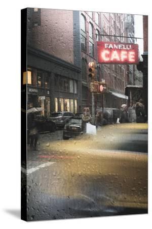 Cafe And Cab Rain-Moises Levy-Stretched Canvas Print
