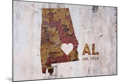 AL Rusty Cementwall Heart-Red Atlas Designs-Mounted Giclee Print