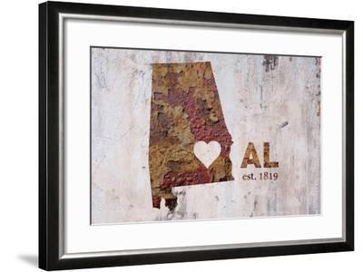AL Rusty Cementwall Heart-Red Atlas Designs-Framed Giclee Print