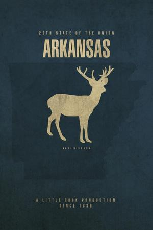 AR State Minimalist Posters-Red Atlas Designs-Framed Giclee Print