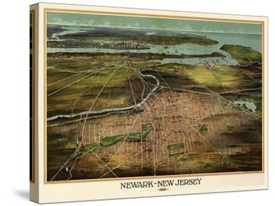 Birdseye View Of Newark, New Jersey 1916-Vintage Lavoie-Stretched Canvas Print