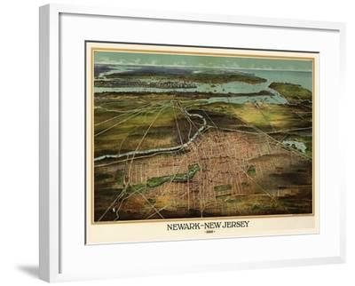 Birdseye View Of Newark, New Jersey 1916-Vintage Lavoie-Framed Giclee Print