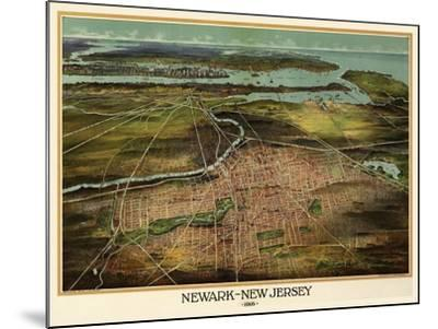 Birdseye View Of Newark, New Jersey 1916-Vintage Lavoie-Mounted Giclee Print