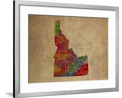 ID Colorful Counties-Red Atlas Designs-Framed Giclee Print