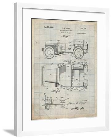 PP11 Antique Grid Parchment-Borders Cole-Framed Giclee Print