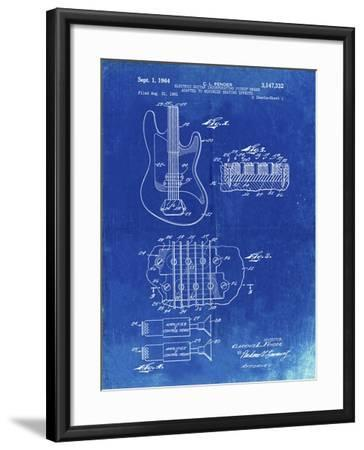 PP49 Faded Blueprint-Borders Cole-Framed Giclee Print
