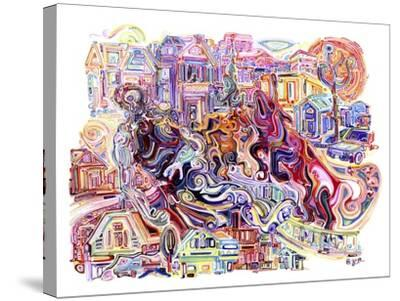 Two Unicorns Killing A Cyclops In The Suburbs-Josh Byer-Stretched Canvas Print