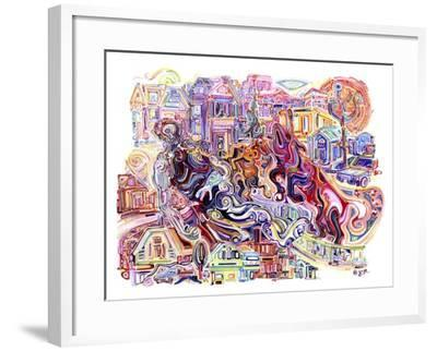 Two Unicorns Killing A Cyclops In The Suburbs-Josh Byer-Framed Giclee Print
