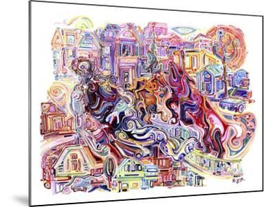 Two Unicorns Killing A Cyclops In The Suburbs-Josh Byer-Mounted Giclee Print