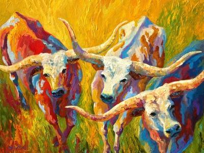 Dance Of The Longhorns-Marion Rose-Stretched Canvas Print