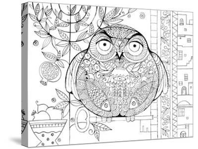 Judaica Folk Owl - Outline-Oxana Zaika-Stretched Canvas Print