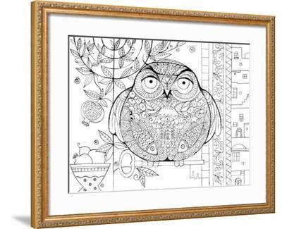 Judaica Folk Owl - Outline-Oxana Zaika-Framed Giclee Print
