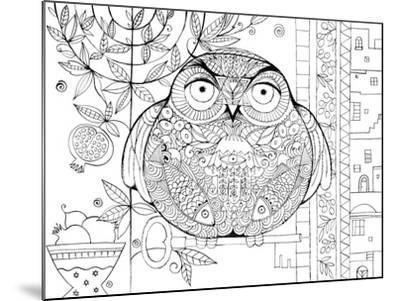 Judaica Folk Owl - Outline-Oxana Zaika-Mounted Giclee Print