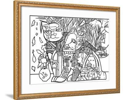 Florence Cats Line Art-Oxana Zaika-Framed Giclee Print