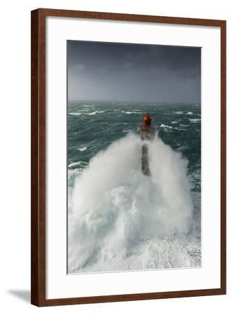 Toute La Force De La Nature Lors Du Passage De La Tempête Ruzica Au Phare De La Jument-Mathieu Rivrin-Framed Photographic Print