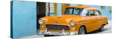 Cuba Fuerte Collection Panoramic - Beautiful Classic American Orange Car-Philippe Hugonnard-Stretched Canvas Print