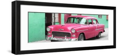 Cuba Fuerte Collection Panoramic - Beautiful Classic American Pink Car-Philippe Hugonnard-Framed Photographic Print