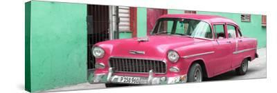 Cuba Fuerte Collection Panoramic - Beautiful Classic American Pink Car-Philippe Hugonnard-Stretched Canvas Print