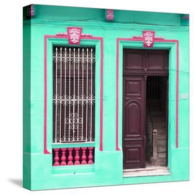 Cuba Fuerte Collection SQ - Havana Turquoise Façade-Philippe Hugonnard-Stretched Canvas Print