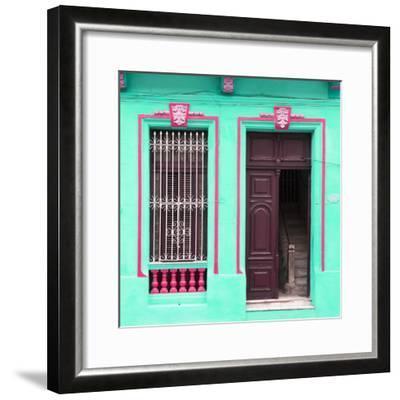 Cuba Fuerte Collection SQ - Havana Turquoise Façade-Philippe Hugonnard-Framed Photographic Print