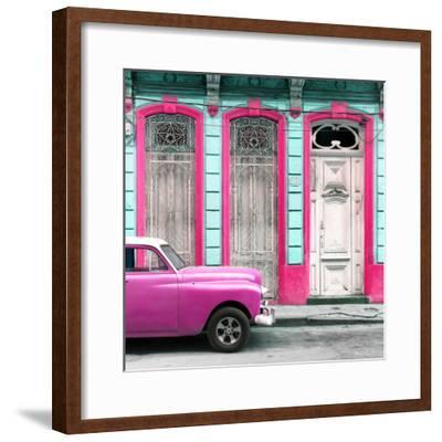 Cuba Fuerte Collection SQ - Pink Vintage Car in Havana II-Philippe Hugonnard-Framed Photographic Print