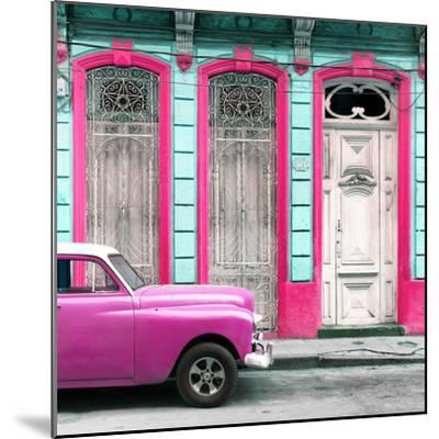 Cuba Fuerte Collection SQ - Pink Vintage Car in Havana II-Philippe Hugonnard-Mounted Photographic Print