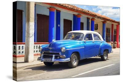 Cuba Fuerte Collection - Cuban Blue Car-Philippe Hugonnard-Stretched Canvas Print