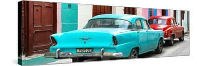 Cuba Fuerte Collection Panoramic - Classic American Cars - Turquoise & Red-Philippe Hugonnard-Stretched Canvas Print
