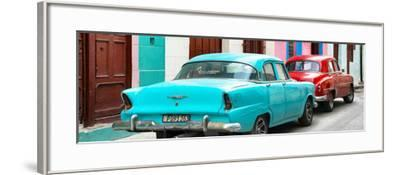 Cuba Fuerte Collection Panoramic - Classic American Cars - Turquoise & Red-Philippe Hugonnard-Framed Photographic Print
