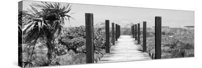 Cuba Fuerte Collection Panoramic BW - Wooden Jetty on the Beach-Philippe Hugonnard-Stretched Canvas Print