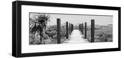Cuba Fuerte Collection Panoramic BW - Wooden Jetty on the Beach-Philippe Hugonnard-Framed Photographic Print