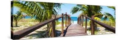 Cuba Fuerte Collection Panoramic - Wooden Jetty on the Beach-Philippe Hugonnard-Stretched Canvas Print