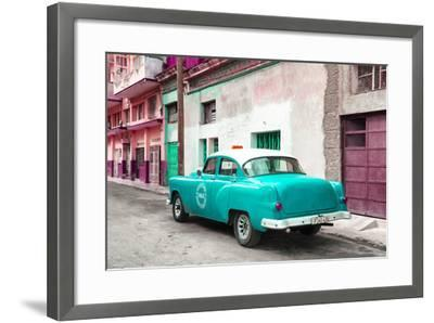 Cuba Fuerte Collection - Turquoise Taxi Pontiac 1953-Philippe Hugonnard-Framed Photographic Print