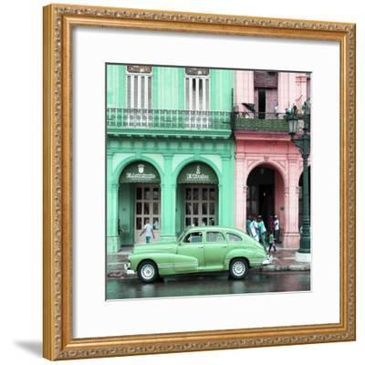 Cuba Fuerte Collection SQ - Colorful Architecture and Green Classic Car-Philippe Hugonnard-Framed Photographic Print