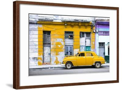 Cuba Fuerte Collection - Yellow Vintage American Car in Havana-Philippe Hugonnard-Framed Photographic Print