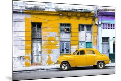 Cuba Fuerte Collection - Yellow Vintage American Car in Havana-Philippe Hugonnard-Mounted Photographic Print