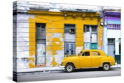 Cuba Fuerte Collection - Yellow Vintage American Car in Havana-Philippe Hugonnard-Stretched Canvas Print