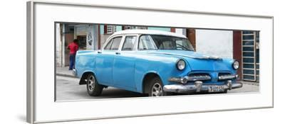 Cuba Fuerte Collection Panoramic - Classic Blue Car-Philippe Hugonnard-Framed Photographic Print