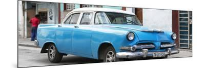 Cuba Fuerte Collection Panoramic - Classic Blue Car-Philippe Hugonnard-Mounted Photographic Print