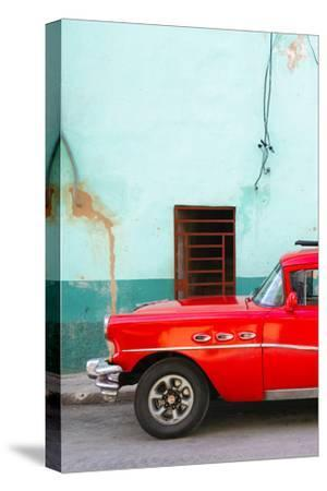 Cuba Fuerte Collection - Classic American Red Car-Philippe Hugonnard-Stretched Canvas Print