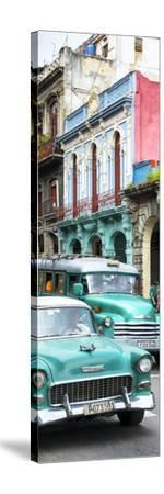 Cuba Fuerte Collection Panoramic - Green Classic Cars in Havana-Philippe Hugonnard-Stretched Canvas Print